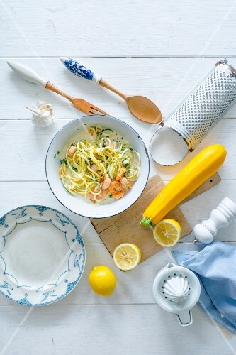 Zoodles (zucchini noodles) with prawns