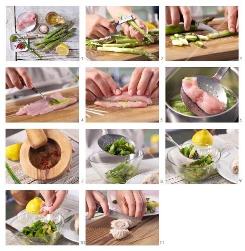 Putenroulade auf Spargelsalat mit Wasabi und rosa Pfeffer zubereiten