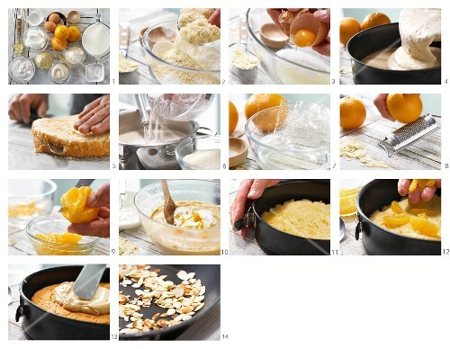 How to make a caramel cream cake with orange segments and almonds
