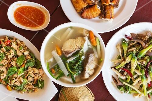 Various Laotian dishes (Vientiane, Laos, Asia)