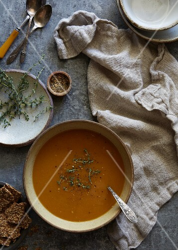 Pumpkin soup with herbs (seen from above)