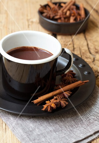 Hot chocolate with cinnamon and star anise