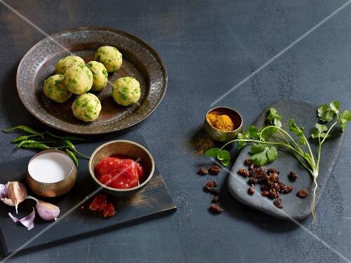 Ingredients for vegetarian curries with vegetables