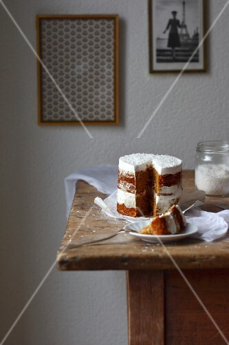 A moist orange cake with a ginger and cream cheese frosting