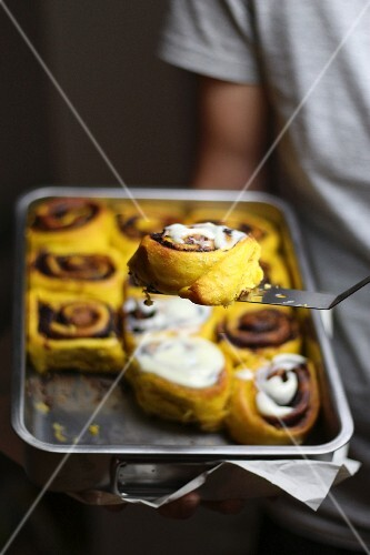 Pumpkin rolls with a sugar glaze