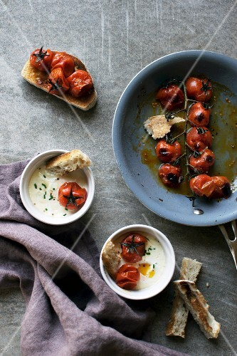 Egg cocotte with fried cherry tomatoes
