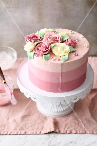 Striped ombre cake with buttercream roses