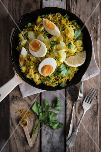 Kedgerry with smoked hadock, curry spices and boiled egg