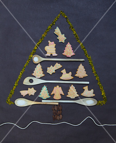 Gingerbread Biscuits And Wooden Spoons License Images