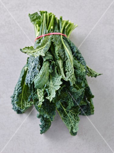 A bundle of green cabbage leaves