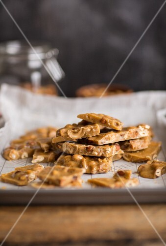 Nut brittle on a baking tray