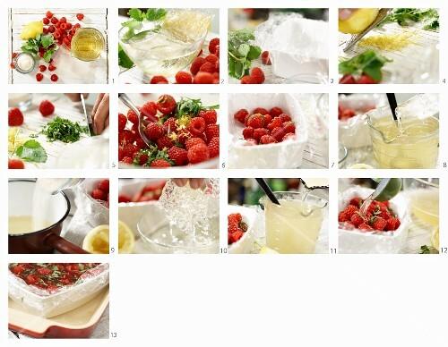Himbeer-Sülze mit Zitronenmelisse und Prosecco zubereiten