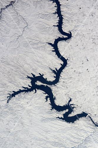 Oahe dam, USA, ISS image