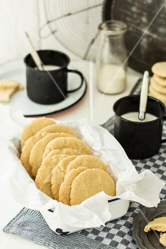 American cookies in an enamel dish