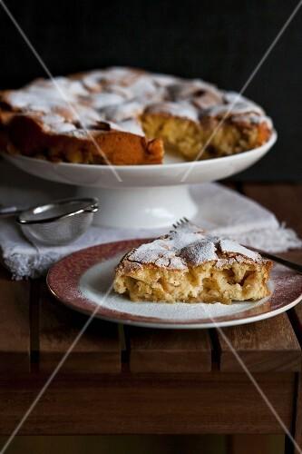 Slice of Apple sharlotka cake on a wooden table