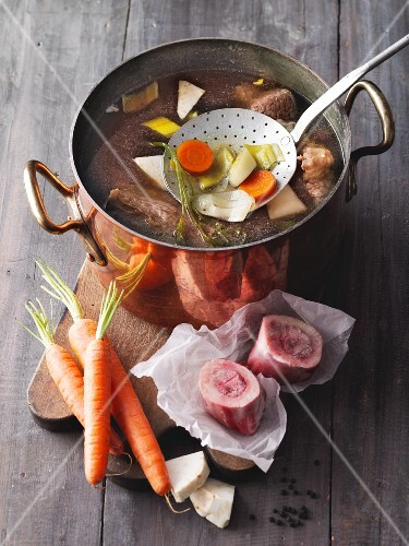 Bone broth with soup vegetables