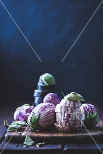 Eggplant, aubergines on a cutting board