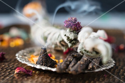 Homemade incense sticks, cones, and herbs for smoking