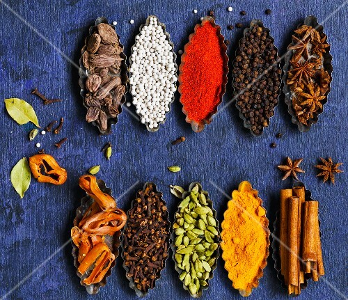 Cardamom, Star anise, Peppers, Bay Leaf, Cinnamon, Clove, Mace and Black Cardamom on a rustic background