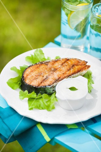 Grilled salmon steak on a fresh green salad with garlic sauce