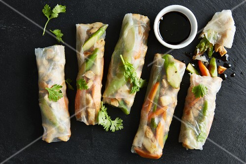 Rice paper rolls filled with chicken breast and vegetables with a balsamic reduction