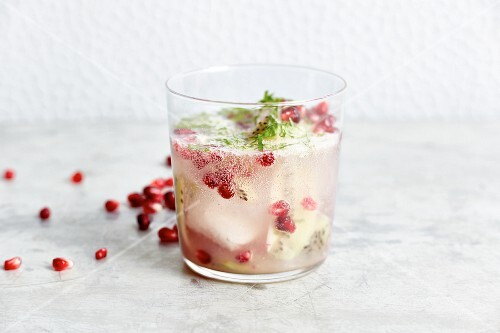 Non-alcoholic pomegranate and kiwi mojito with sparkling water