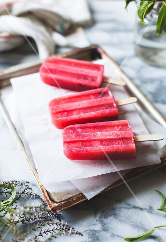 Raspberry lemon verbena popsicles