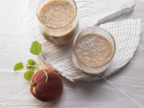 Peach shake with ginger, lemongrass and honey
