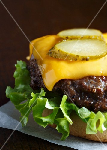 Grilled beef burger on a white bun with curly lettuce, melted cheddar cheese and slices of gherkin