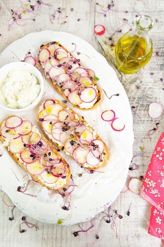 Bruschetta with Robiola cheese, olives, radishes and radish sprouts