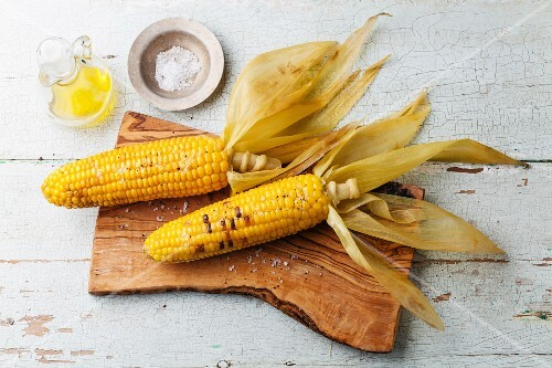 Boiled corn cob with salt on blue textural background