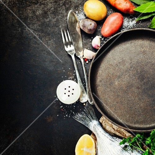 Food background with Fish and Vegetables