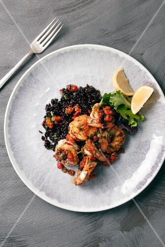 Grilled prawns on a bed of wild rice