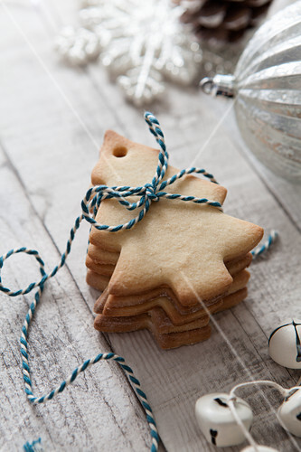Stack Of Christmas Tree Shaped Biscuits License Images