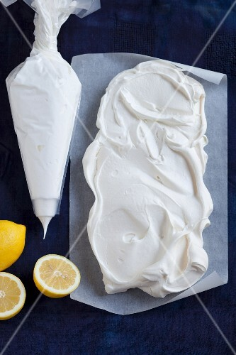 Ingredients for making pavlova with lemon curd