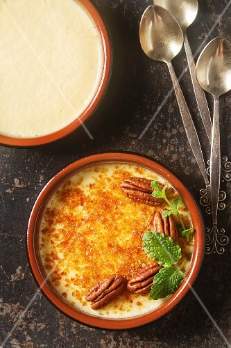 Creme caramel with pecans and mint