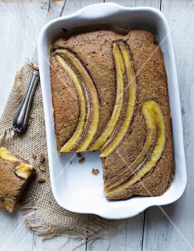 Gluten-free cake buckwheat and banana cake with brown sugar