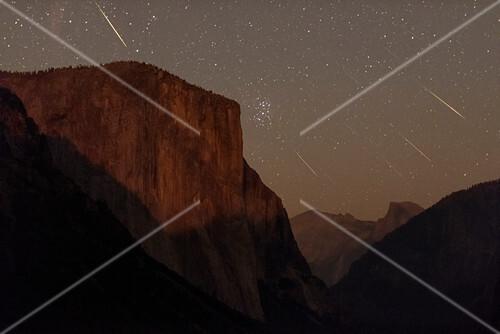 Perseid meteors over Yosemite, composite image