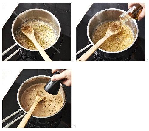 The making of creamy sauce with a shot of alcohol