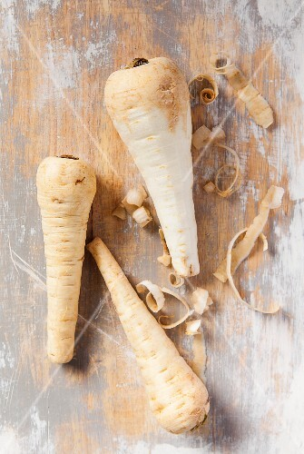 Parsnips, partly peeled