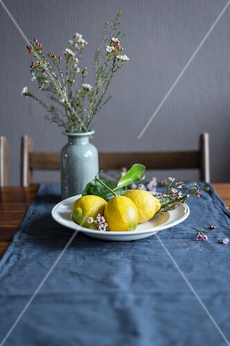 Lemons on a white plate