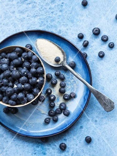 Blueberries with sugar