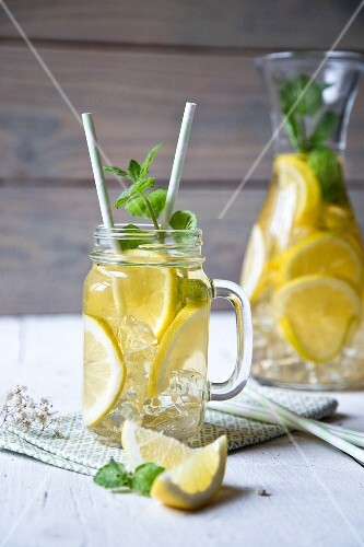 Lemonade with ice cubes and mint