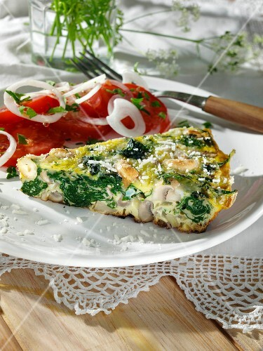 Frittata with mushrooms spinach onions and cashews