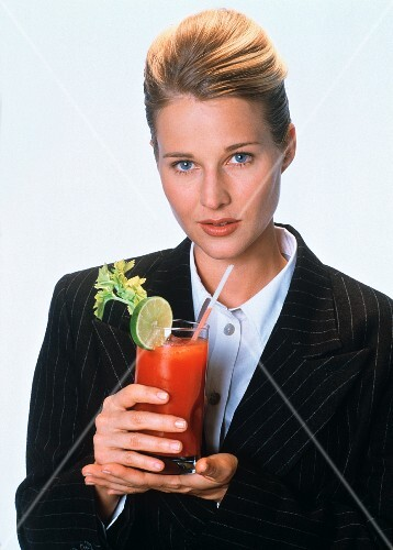 Woman with a Bloody Mary Cocktail