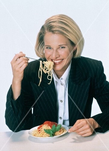 Woman Eating Spaghetti