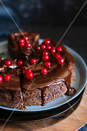 Chocolate cheesecake with red currants