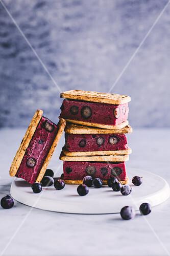 Frozen blueberry ice cream sandwiches