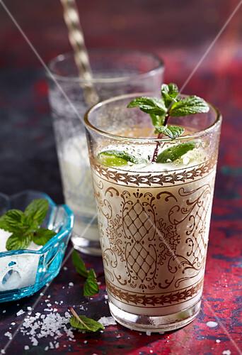 Homemade ayran (Turkish yoghurt drink)