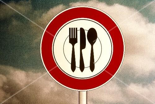 Highway Sign Symbolizing Food